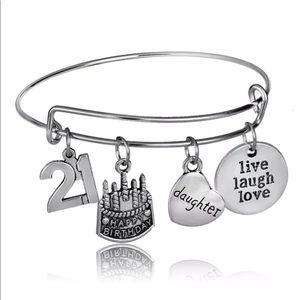 Silver 21 Birthday Bangle Bracelet